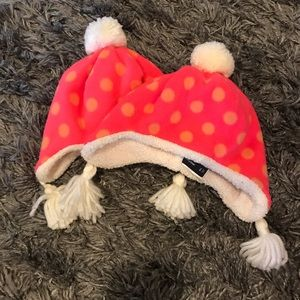 set of GAP pink and orange hats